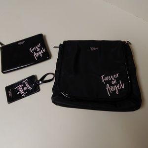 NWOT Victoria's Secret Cosmetic Bag Trio, Black
